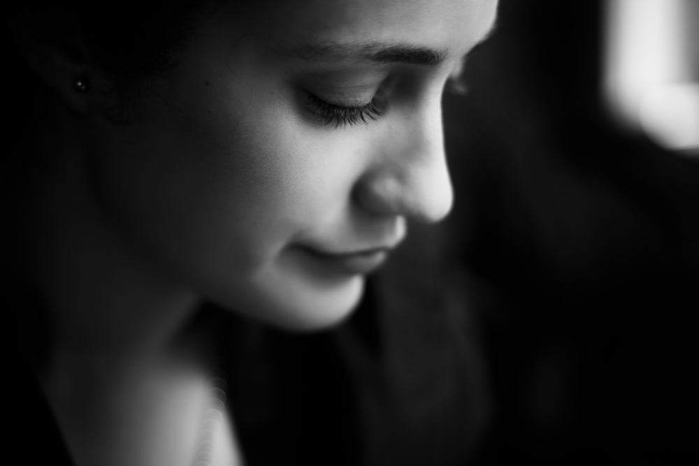 balck and white photo of woman's face